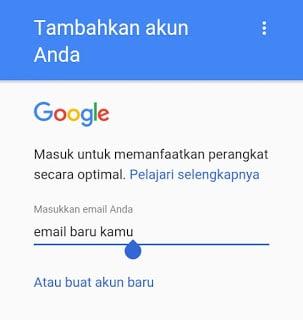 Masukkan Akun Gmail Baru