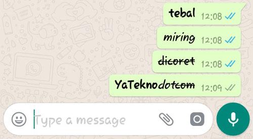 Cara Buat Tulisan di WhatsApp Jadi Tebal, Miring & Dicoret