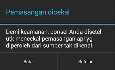 Pemasangan Dicekal di Android